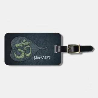 Black & Gold Bodhi Leaf OM Symbol YOGA Instructor Luggage Tag
