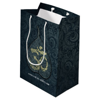 Black & Gold Bodhi Leaf OM Symbol YOGA Instructor Medium Gift Bag