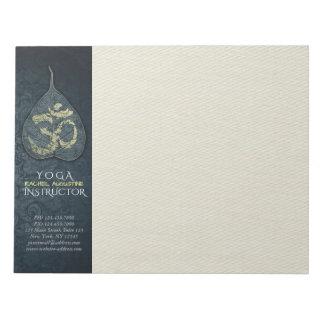 Black & Gold Bodhi Leaf OM Symbol YOGA Instructor Notepads