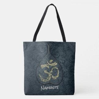 Black & Gold Bodhi Leaf OM Symbol YOGA Instructor Tote Bag
