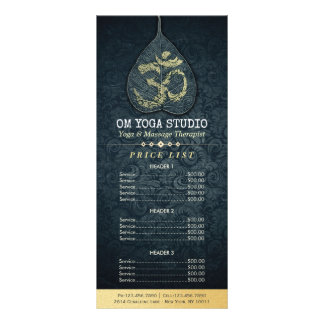 Black Gold Bodhi Leaf OM Symbol YOGA Price List Rack Card