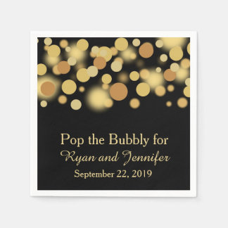 Black Gold Bokeh Personalized Wedding Napkins Disposable Napkin