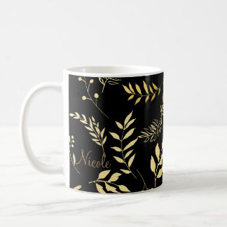 Black & Gold Botanical Glam Floral Leaves Chic Coffee Mug