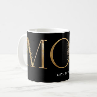 Black & Gold Botanical Typography Mom Est 2018 Coffee Mug