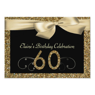 Black Gold Bow 60th Womans Birthday Invitation