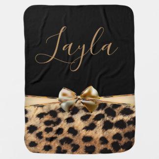 Black & Gold Bow Leopard Cheetah Animal Print Baby Blanket
