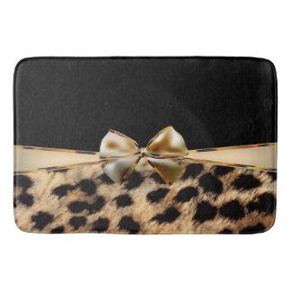 Black & Gold Bow Leopard Cheetah Animal Print Bath Mat