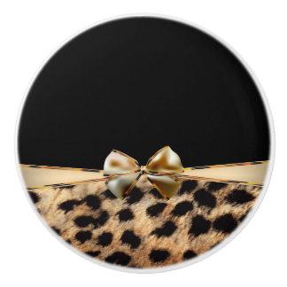 Black & Gold Bow Leopard Cheetah Animal Print Ceramic Knob