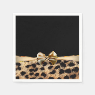 Black & Gold Bow Leopard Cheetah Animal Print Disposable Napkins