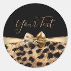 Black Gold Bow Leopard Cheetah Animal Print Favour Classic Round Sticker