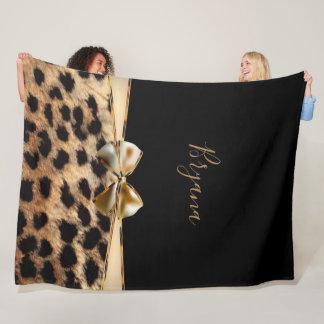 Black & Gold Bow Leopard Cheetah Animal Print Fleece Blanket