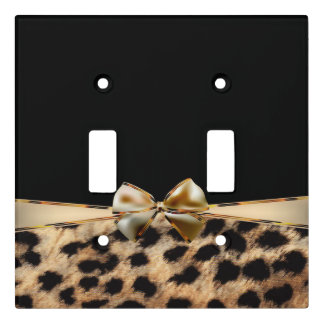 Black & Gold Bow Leopard Cheetah Animal Print Light Switch Cover