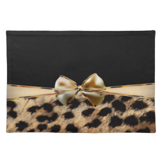 Black & Gold Bow Leopard Cheetah Animal Print Placemat