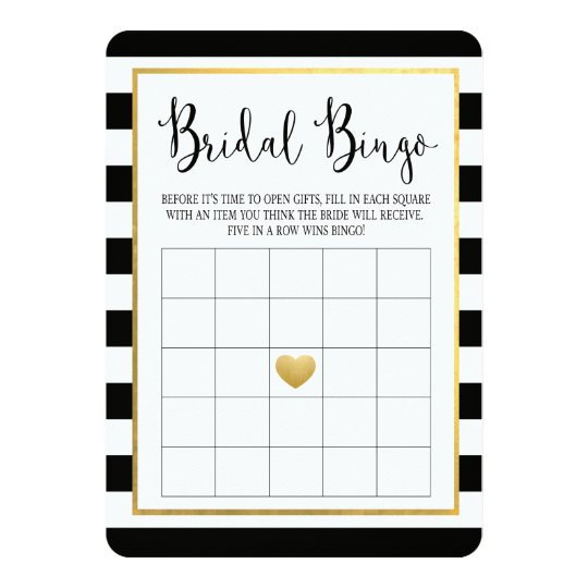 Black & Gold Bridal Shower Bingo Game Card