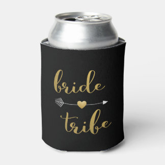 Black & Gold Bride Tribe Arrow Heart Coozie