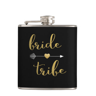 Black & Gold Bride Tribe Arrow Heart Flask