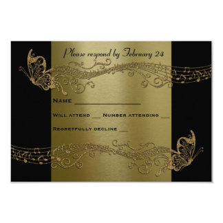 Black Gold Butterfly Music Fidelity rsvp Card