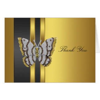 Black Gold Butterfly Thank You Cards