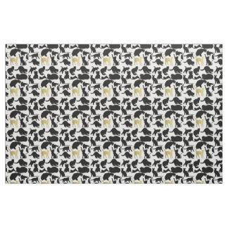 Black Gold Cats Fabric