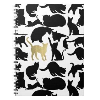 Black Gold Cats Spiral Notebook