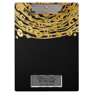 Black Gold Cheetah Leopard Glam Personalized Clipboard