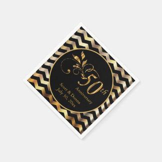Black & Gold Chevron 50th Wedding Anniversary Paper Napkins
