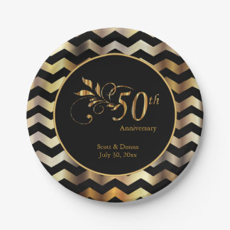 Black & Gold Chevron 50th Wedding Anniversary Paper Plate
