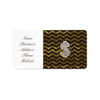 Black & Gold Chevron Diamond & Gold Dollar Sign Label