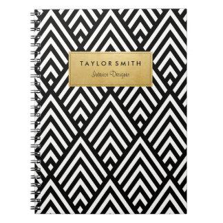 Black & Gold Chevron Pattern Notebook