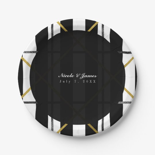 Black & Gold Chic Glam Geometric Party 7 Inch Paper Plate
