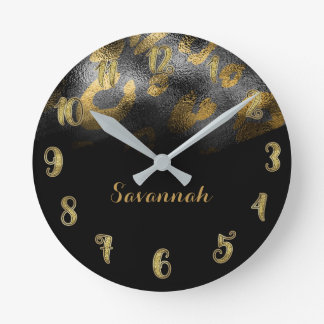 Black & Gold Chic Sleek Leopard Cheetah Print Round Clock