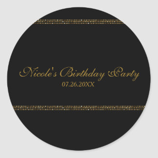 Black & Gold Chic Sparkling Glam Party Favor Classic Round Sticker