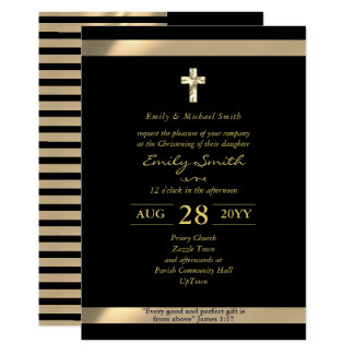 Black Gold CHRISTENING Invitations with verse