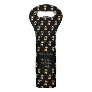 Black Gold Christmas Angels Pattern Elegant Wine Bag