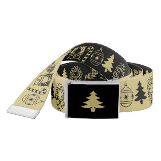 Black/Gold Christmas Font Art Pattern Belt