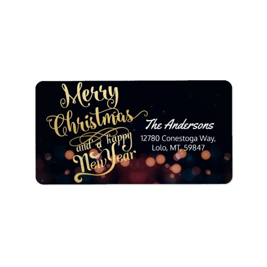Black & Gold Christmas & Happy New Year Typography Label