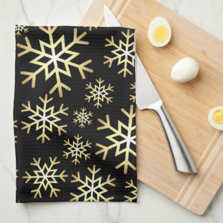 Black gold Christmas snowflake kitchen towel