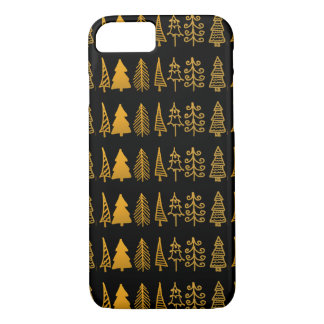 Black Gold Christmas Trees Drawing Holiday Pattern iPhone 8/7 Case