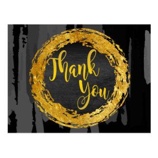 Black Gold circle Thank You Glitter Abstract Postcard