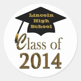 Black & Gold Class Of 2014 Graduation Cap Stickers