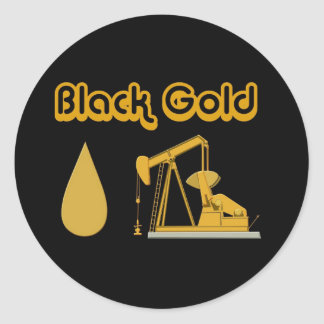 Black Gold Classic Round Sticker