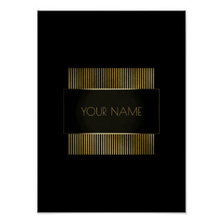 Black Gold Conceptual Minimal Name Geometry Poster