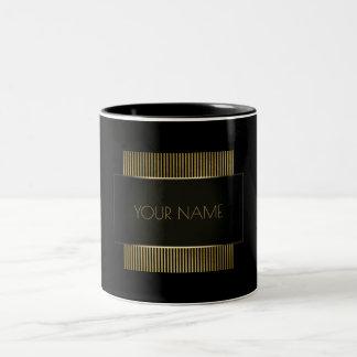 Black Gold Conceptual Minimal Name Geometry Two-Tone Coffee Mug