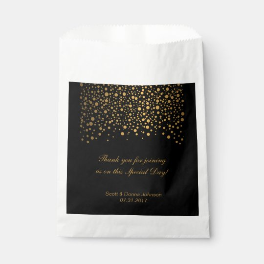 Black & Gold Confetti Wedding Favour Bag