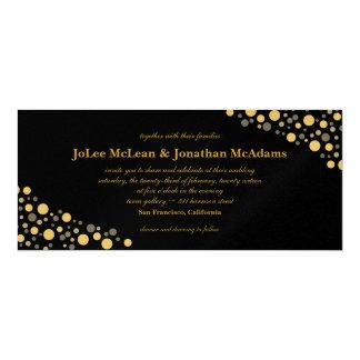 Black & Gold Confetti Wedding Party Card