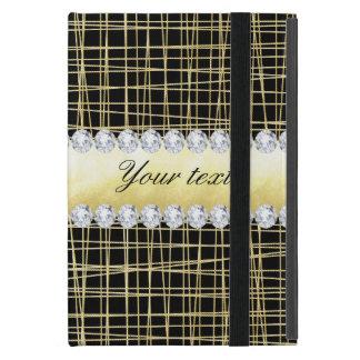 Black Gold Criss Cross Lines and Diamonds iPad Mini Case