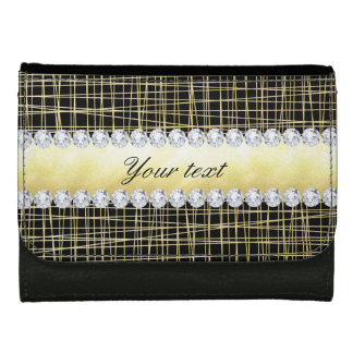 Black Gold Criss Cross Lines and Diamonds Wallet