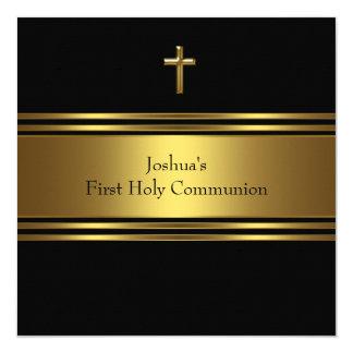 "Black Gold Cross Boys First Communion 5.25"" Square Invitation Card"