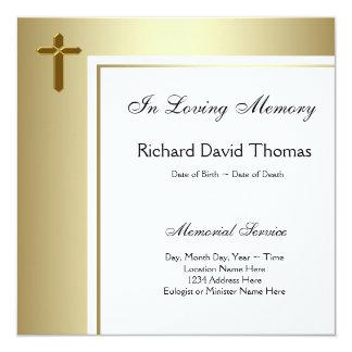 Black Gold Cross In Loving Memory Memorial Card
