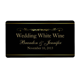 Black & Gold Custom Wedding Mini Wine Labels
